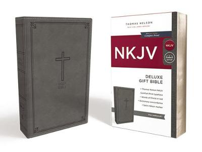NKJV, Deluxe Gift Bible, Leathersoft, Gray, Red Letter Edition, Comfort Print by Thomas Nelson