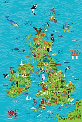 Children's Wall Map of the United Kingdom and Ireland by Steve Evans