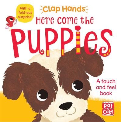 Clap Hands: Here Come the Puppies: A touch-and-feel board book with a fold-out surprise by Pat-a-Cake