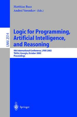 Logic for Programming, Artificial Intelligence, and Reasoning by Matthias Baaz