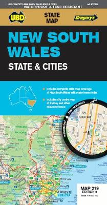 New South Wales State & Cities Map 219 9th ed waterproof by UBD Gregory's