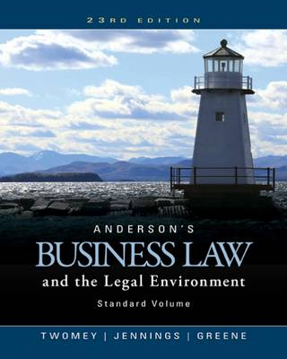 Anderson's Business Law and the Legal Environment, Standard Volume by David Twomey