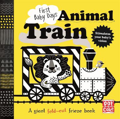 First Baby Days: Animal Train: A high-contrast, fold-out board book book
