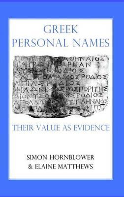 Greek Personal Names book