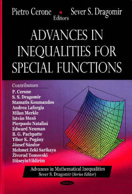 Advances in Inequalities for Special Functions by Pietro Cerone