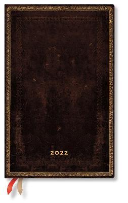 2022 Black Moroccan, Maxi, (Week at a Time) Diary: Hardcover, Horizontal Layout, 100 gsm, elastic closure book