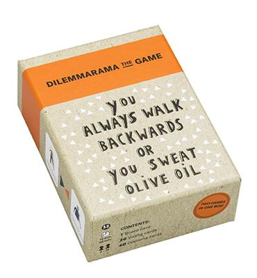 Dilemmarama The Game: You Always Walk Backwards or You Sweat Olive Oil by Dilemma op Dinsdag