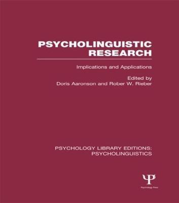 Psycholinguistic Research (PLE: Psycholinguistics) book