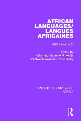 African Languages/Langues Africaines: Volume 5 (2) 1979 by Kahombo Mateene