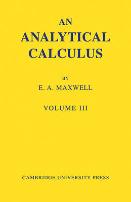 Analytical Calculus: Volume 3 book