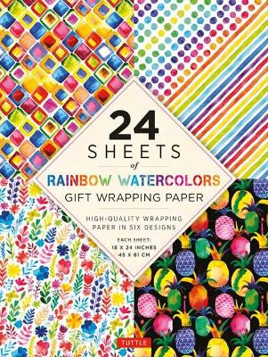24 sheets of Rainbow Watercolors Gift Wrapping Paper: High-Quality 18 x 24