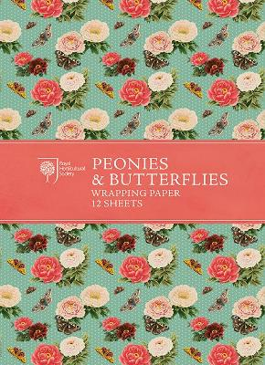 RHS Peonies and Butterflies Wrapping Paper by Royal Horticultural Society