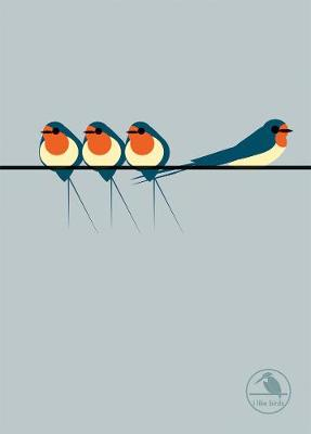 I Like Birds: Swallows On a Line Hardback Notebook by I Like Birds
