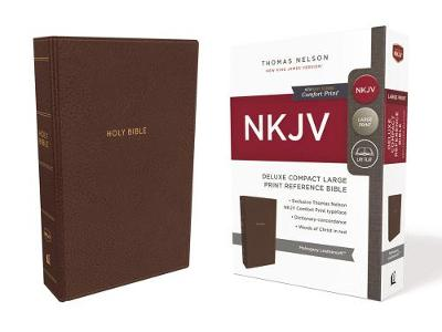 NKJV Deluxe Compact Reference Bible Red Letter Edition [Large Print, Brown] by Thomas Nelson