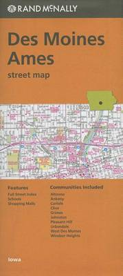 Folded Map Des Moines Ames Streets Ia by Rand McNally