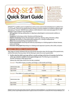 Ages & Stages Questionnaires (R): Social-Emotional (ASQ (R):SE-2): Quick Start Guide (English): A Parent-Completed Child Monitoring System for Social-Emotional Behaviors by Jane Squires