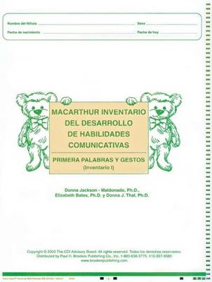 Macarthur Communicative Development Inventories (Cdis)  Inventario I: Primeras Palabras y Gestos (Package of 25) by Larry Fenson