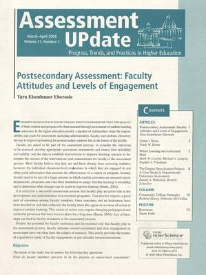 Assessment Update Volume 21, Number 2, January-february 2009 by Trudy W. Banta