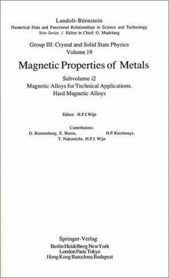 Hard Magnetic Alloys by D. Bonnenberg