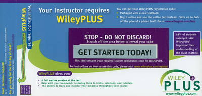 WileyPlus Registration Card for Principles of Anatomy and Physiology by Gerard J. Tortora