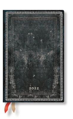 2022 Midnight Steel, Mini, (Week at a Time) Diary: Hardcover, Horizontal Layout, 100 gsm, elastic closure book