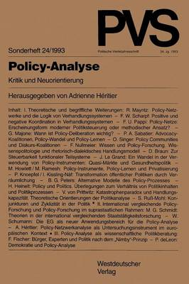 Policy-Analyse: Kritik Und Neuorientierung book