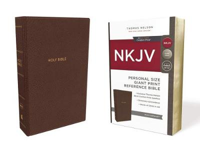 NKJV, Reference Bible, Personal Size Giant Print, Leathersoft, Brown, Red Letter Edition, Comfort Print by Thomas Nelson