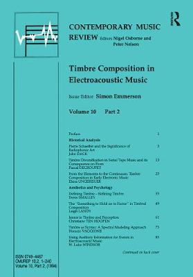 Timbre Composition in Electroacoustic Music by Simon Emmerson