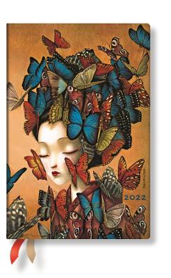 2022 Madame Butterfly, Mini, (Week at a Time) Flexi Diary: Softcover, flexi binding, Horizontal Layout, 100 gsm, no closure book