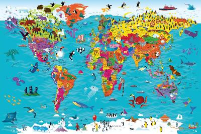 Collins Children's World Wall Map: An illustrated poster for your wall by Steve Evans