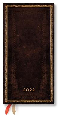 2022 Black Moroccan, Slim, (Week at a Time) Diary: Hardcover, Horizontal Layout, 100 gsm, elastic closure book