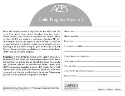 Assessment, Evaluation, and Programming System for Infants and Children (AEPS (R)): Child Progress Record I: Birth to Three Years by Betty Capt